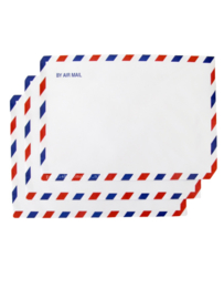 Envelop by air mail blauw rood
