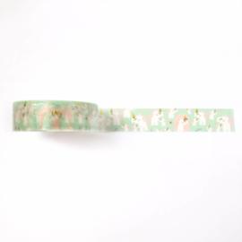 Washi tape | Mint Unicorn met goudfolie