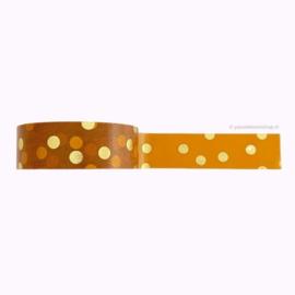 Washi tape okergeel gouden stippen