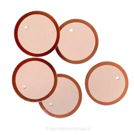Blanco rond label roze met rosé folie rand (5 stuks)