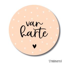 Stickers van harte zalm roze