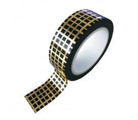 Washi tape | Zwart goud grid, ruitjes