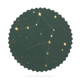 Sluitsticker rond | Sterrenstelsel groen/ goud