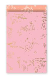Cadeauzakjes Sinterklaas liedjes roze 12x19