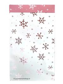 Cadeauzakjes wit met rosé ijsster/sneeuwvlokken