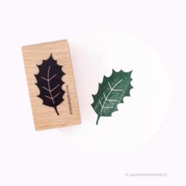 Stempel hout | Kerst hulst blaadje
