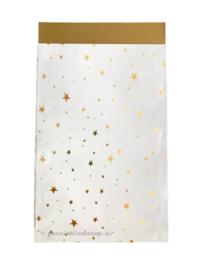 Cadeauzakje wit gouden sterren 12x19