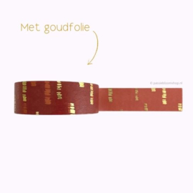 Washi tape rood met gouden strepen
