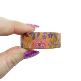 Washi tape oranje bloemen