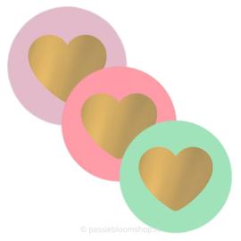 Sluitstickers hartjes lila, mint en roze