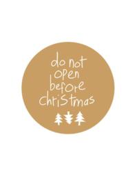 Sluitsticker | Do not open before christmas | Goud