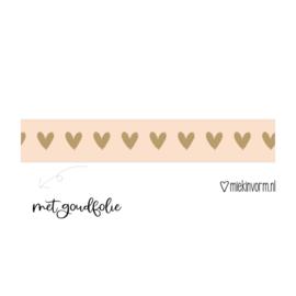 Hartjes washi tape roze goud