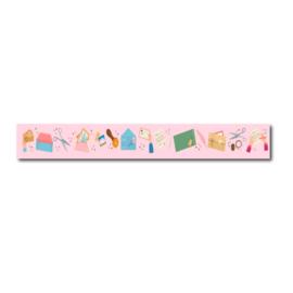 Washi tape air mail, post thema pastel kleuren