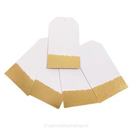 Blanco labels wit met gouden rand (5 stuks)