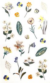 Sticker bloemen blauw/ oranje