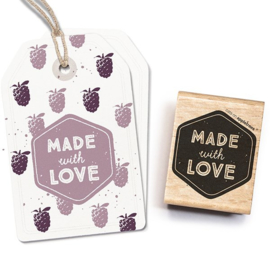 Made with love tekst stempel label