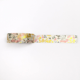 Washi tape | Pastel bloemen met goudfolie