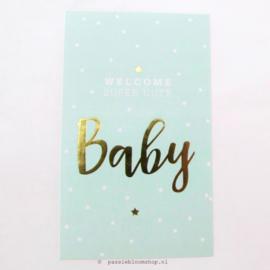 Sluitsticker Welcome baby Blauw