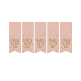 Vaantje sluisticker tekst spartel all the way roze goud