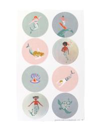 Stickers zee thema zeemeermin rond