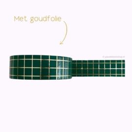 Washi tape groen met gouden ruitjes / grid