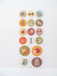 Stickers bos dieren herfst