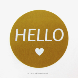 Sluitstickers rond Hello Okergeel