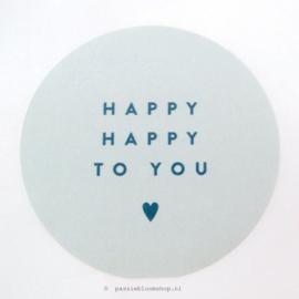 Sluitstickers rond happy happy blauw