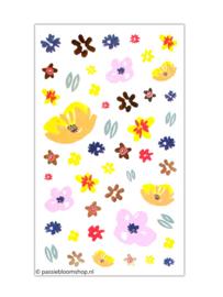 Bloemen stickers neon roze, oranje en goudfolie