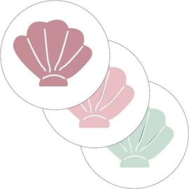 Sluitsticker set pastel schelpen  (3 stuks)