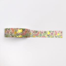 Washi tape | Bloemen en goudfolie