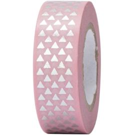 Washi tape | roze, zilveren driehoekjes