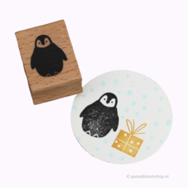 Stempel hout winter pinguïn