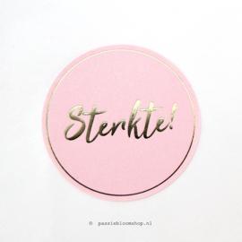 Sluitsticker rond Sterkte roze/ goud