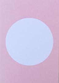 DIY zelf een kaart maken, cirkel roze A6