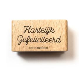Tekst stempel hout | Hartelijk gefeliciteerd