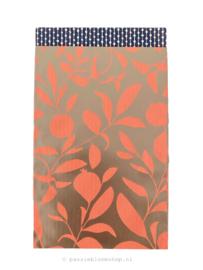 Cadeauzakje lente bloem roze/rosegoud 12x19
