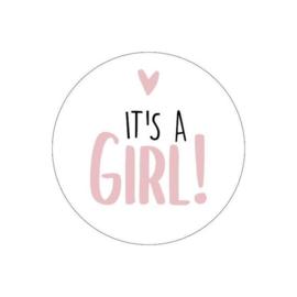 Sluitsticker geboorte it's a girl (6stuks)