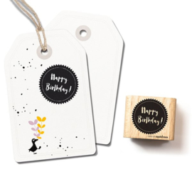 Tekst stempel happy birthday in cirkel