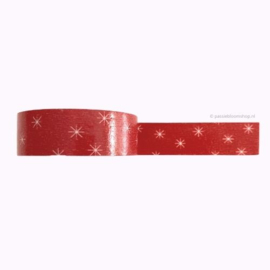 Washi tape rood met sneeuwvlok