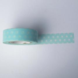 Washi tape | Licht blauw met sterretjes