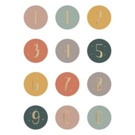 Stickers cijfers kleur (12 stuks)