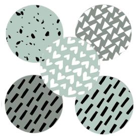 Sluitstickers grafische patronen mint  (5 stuks)