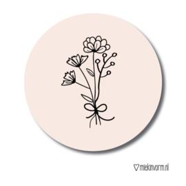 Sluitsticker roze bloemetjes
