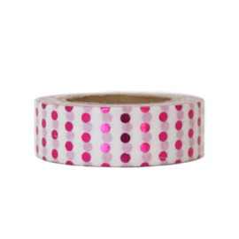 Washi tape glimmend roze stippen