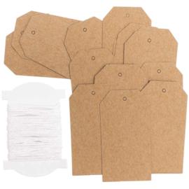 Kraft label etiket vorm | middel (5stuks)