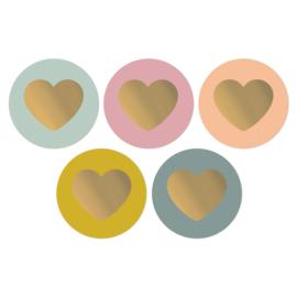 Ronde sluitsticker mix  pastel hartjes