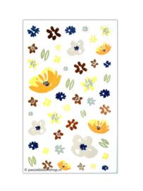 Bloemen stickers blauw, oranje en goudfolie