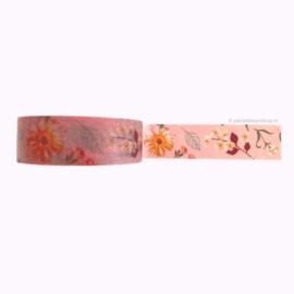 Washi tape roze met najaars bloemen