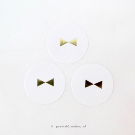 Stickers rond gouden strikje